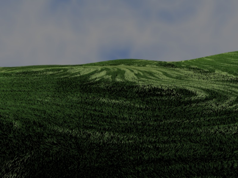 A view of grass on some small hills, created and rendered with Blender.